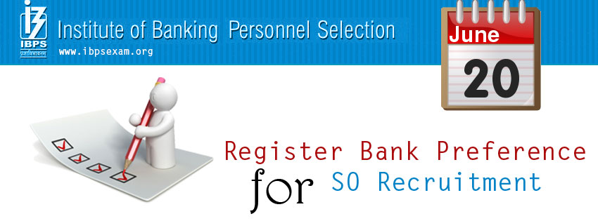 Register Bank Preference for IBPS exam