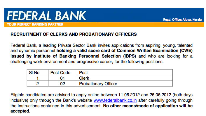 Federal Bank notification for IBPS