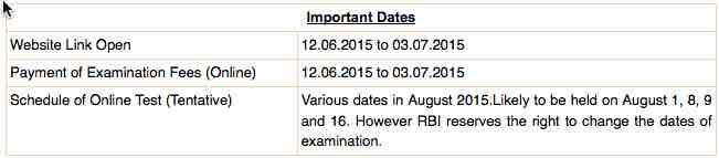 RBI Clerk recruitment date